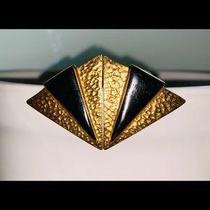 Triangle Gold & Black Stud Earrings
